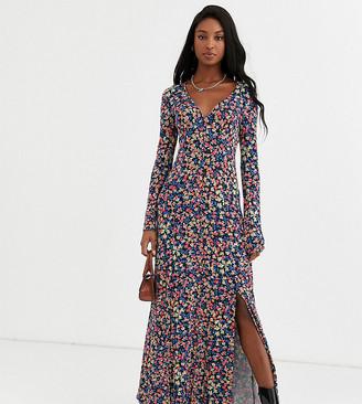 Asos Tall ASOS DESIGN Tall long sleeve button through maxi tea dress in print
