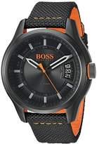 HUGO BOSS BOSS Orange Men's 'HONG KONG SPORT' Quartz Resin and Nylon Casual Watch, Color:Black (Model: 1550003)