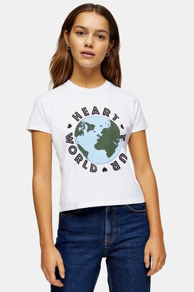 Topshop Womens Petite Considered Organic Cotton Heart Your World T-Shirt - White