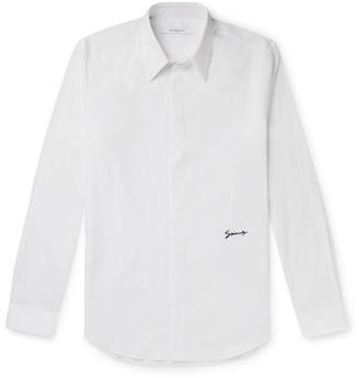 Givenchy Slim-Fit Logo-Embroidered Cotton-Blend Poplin Shirt