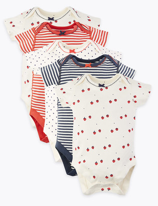 Marks and Spencer 5 Pack Organic Cotton Bodysuits (6lbs-3 Yrs)