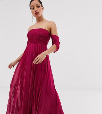 Asos DESIGN Petite Bridesmaid bardot ruched pleated maxi dress-Red