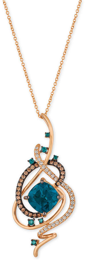 LeVian Le Vian Exotics® Deep Sea Blue TopazTM (5-3/8 ct. t.w.) and Diamond (3/4 ct. t.w.) Pendant Necklace in 14k Rose Gold