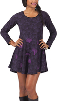 Aller Simplement Purple & Gray Abstract Swing Dress