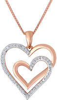 JCPenney FINE JEWELRY ForeverMine 1/10 CT. T.W. Diamond Two-Tone Double Heart Pendant Necklace