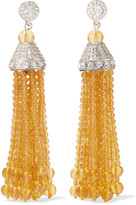 Kenneth Jay Lane Tasseled silver-tone amber and crystal earrings