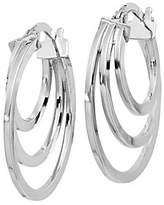 Italian Gold Polished Triple Hoop Earrings 14K