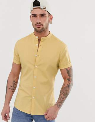 Asos Design DESIGN poplin skinny fit shirt in mustard with grandad collar-Yellow