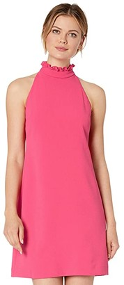 Vince Camuto Kors Crepe Shift Dress with High Ruffle Neck (Hot Pink) Women's Dress