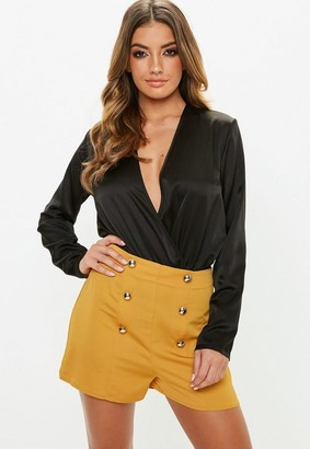 Missguided Yellow Satin Button Shorts