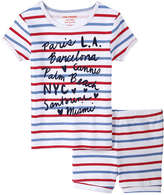 Joe Fresh Toddler Girls' Stripe Sleep Set, White (Size 2)