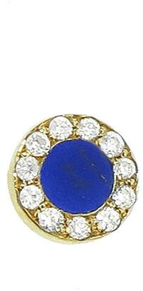 Jennifer Meyer Diamond Lapis Circle Yellow Gold Single Stud Earring