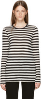 Proenza Schouler Black and Off-white Long Sleeve Striped T-shirt