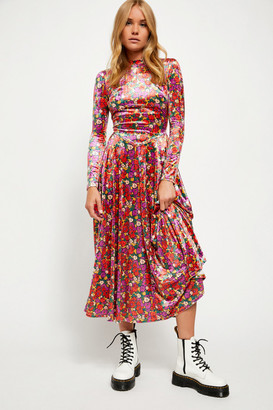 Free People Heartland Crushed Velvet Midi Dress