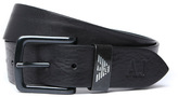 Armani Jeans Black Grained Leather Belt