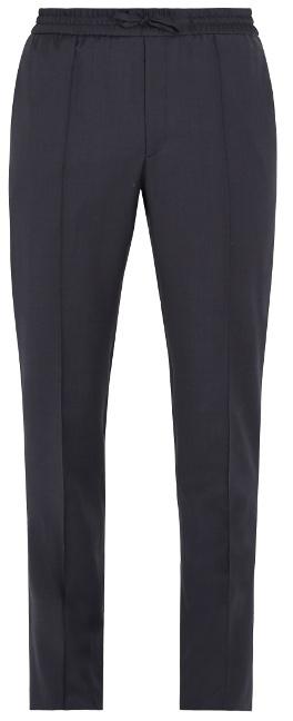 Brioni Drawstring-waist slim-leg wool tailored trousers
