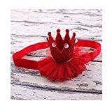 Fullkang Girl Cute Hairband Baby Elastic Flower Crown Headband Head Accessories (Red)