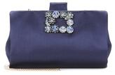 Roger Vivier Soft Flowers crystal-embellished satin clutch