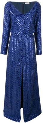 Nina Ricci Sequin Stripes Metallic Dress