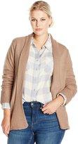 Jason Maxwell Women's Plus-Size Jersey Tuck Waffle Stitch Mix Cardigan Sweater
