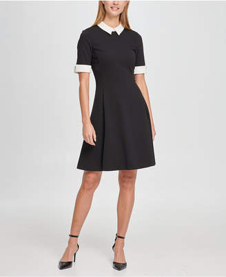 DKNY Short Sleeve Contrast Collar and Cuff Fit Flare Dress