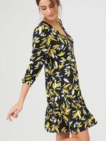 Very Curved Seam V Neck Mini Dress - Floral Print