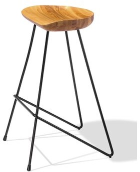 "Industrial Modern Cattelan Bar & Counter Stool Seat Height: Counter Stool (27"" Seat Height), Frame Color: Black, Seat Color: Antique Brushed"