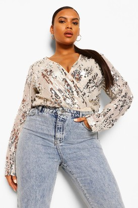 boohoo Plus Sequin Longsleeve Wrap Bodysuit