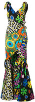 Moschino mixed print fishtail gown - women - Other fibres/Rayon - 38