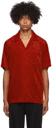Dries Van Noten Red Camp Short Sleeve Shirt