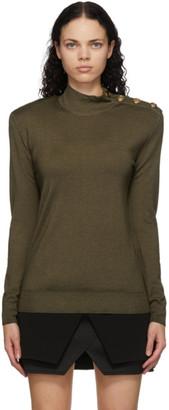 Balmain Khaki Wool and Silk Turtleneck