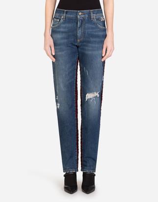 Dolce & Gabbana Denim And Tweed Boyfriend Jeans