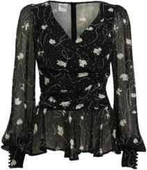 Baum und Pferdgarten Matinez Shirt In Black Dotty String Leaves - 34 - UK 8 / Black
