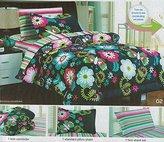Girl's Steel Blue Cartoon Butterfly Flower Comforter Set Girls Pop Art Striped Sheet Set Bed in a Bag Twin Size