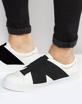 Asos Sneakers in White With Cross Over Black Elastic