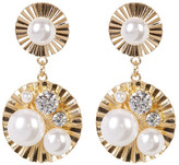 Natasha Accessories Faux Pearl Cluster Disc Drop Earrings