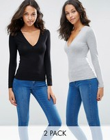 Asos Plunge Neck Top With Long Sleeves 2 Pack
