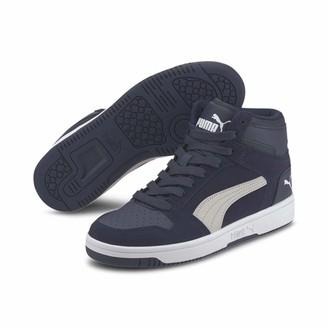 Puma Kids' Rebound Layup SD JR Sneaker Black-Ultra Gray-High Risk Red White 5 UK