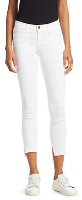 Frame Stretch-Cotton Mid-Rise Ankle Skinny Jeans