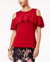 Thalia Sodi Cold-Shoulder Flounce Top, Created for Macy's