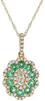Diana M Fine Jewelry 14K 0.62 Ct. Tw. Diamond & Emerald Necklace