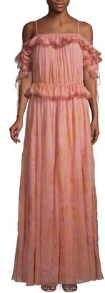 Valentino Printed Off-Shoulder Short-Sleeve Silk Gown