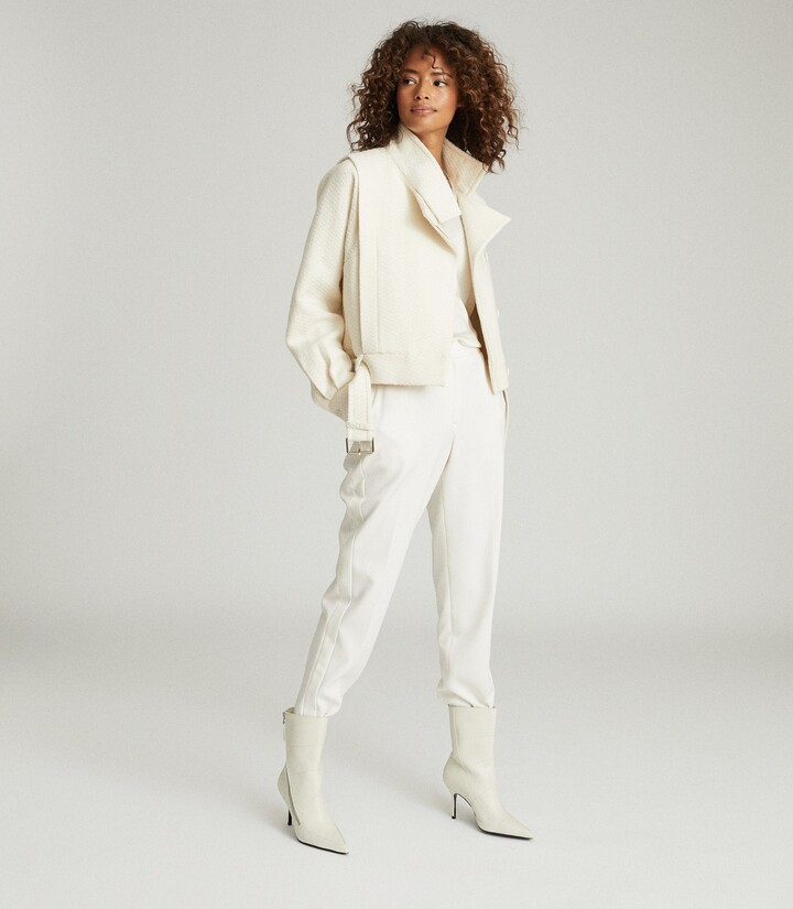 Reiss Clara - Short Biker Jacket in Cream