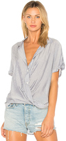 BCBGeneration Wrap Hem Dolman Shirt In Dark Navy Combo in Blue