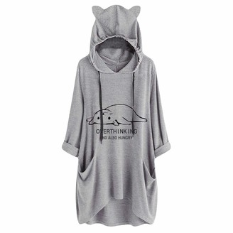 Yivise Womens Hooded Sweatshirt Cat Ears Hoodies Jumper Pullover Long Sleeve Tunic Plus Size Baggy Casual Blouse Tops(Gray Large)