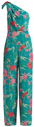 Beulah - Devanee Asymmetric Floral-print Silk Jumpsuit - Womens - Green Multi