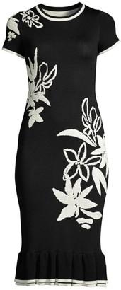 Shoshanna Leah Floral Knit Bodycon Dress
