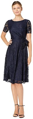 Tahari ASL Elbow Sleeve Stretch Lace Dress w/ Side Shirring (Navy) Women's Dress