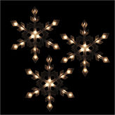 Asstd National Brand Set of 3 Clear Lighted Snowflake Icicle Christmas Lights with White Wire