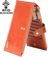 Borgasets RFID Bocking Women'seather Waet Zip Card Case Purse with Removabe Strap Wristet and ID Hoder